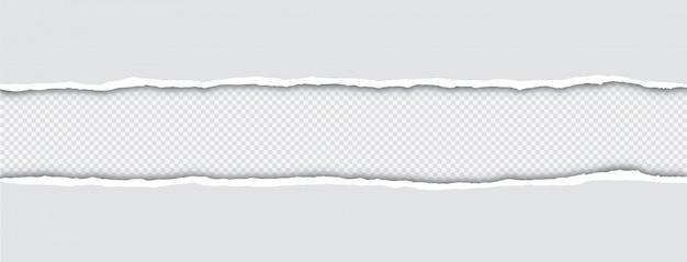 Bordas de papel rasgado realista com sombra transparente Vetor Premium