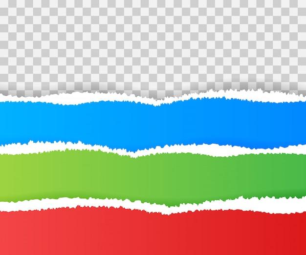 Bordas de papel rasgado, sem costura horizontalmente. Vetor Premium