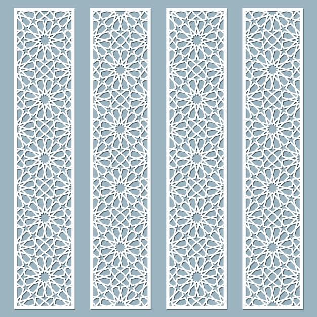 Bordas de renda decorativa cortadas a laser com padrão árabe. conjunto de marcadores Vetor Premium