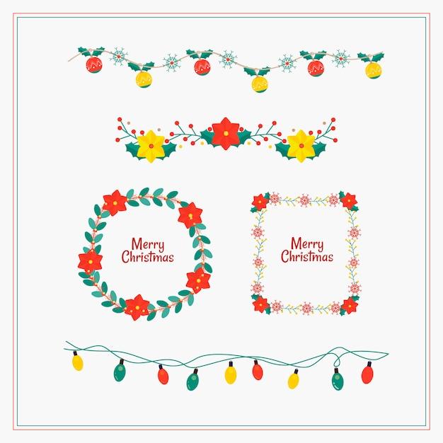 Bordas e molduras de natal de design plano Vetor grátis