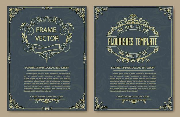 Bordas e molduras vintage decorativas defina vetor Vetor Premium
