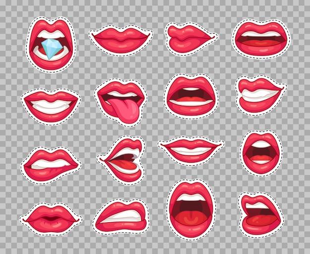 Bordos de lábios doces. adesivos de desenhos animados de moda vintage com garota mostrando a língua sorrindo Vetor Premium
