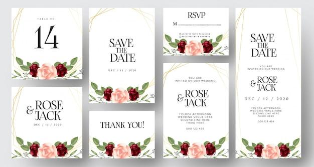 Borgonha cora cartões florais do convite do casamento da aguarela Vetor Premium