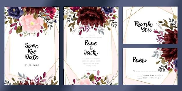 Borgonha e cora cartão floral do convite do casamento da aguarela Vetor Premium