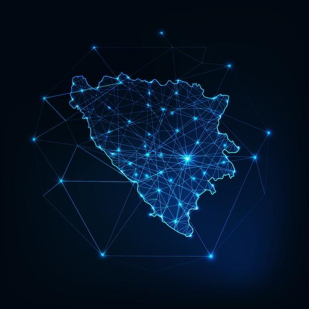 Bósnia e herzegovina esboço de mapa com quadro abstrato de estrelas e linhas. Vetor Premium