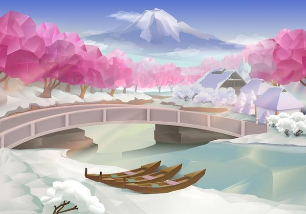 Bosque rosa, paisagem Vetor Premium