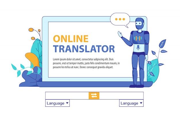 Bot inteligência artificial para tradução online Vetor Premium