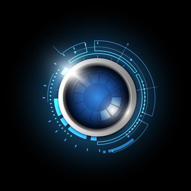 Botão azul tecnologia Vetor Premium