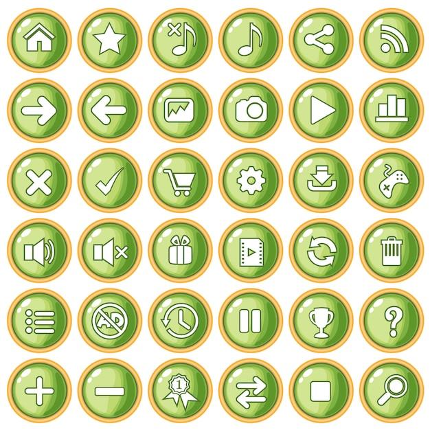 Botão cor verde pêssego fronteira ouro para o plástico estilo jogo. Vetor Premium