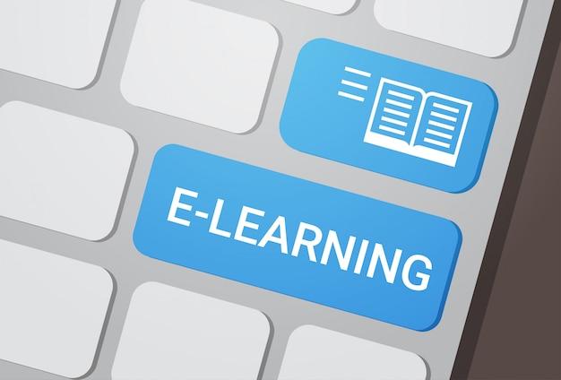 Botão de aprendizagem no conceito de educação on-line de teclado de laptop Vetor Premium