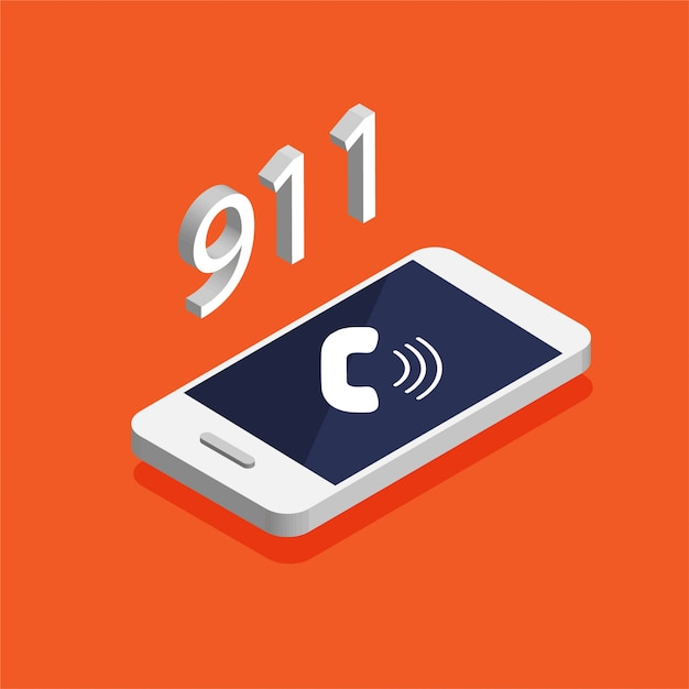 Botão de chamada de emergência 911. isométrico smartphone com chamando em uma tela. Vetor Premium