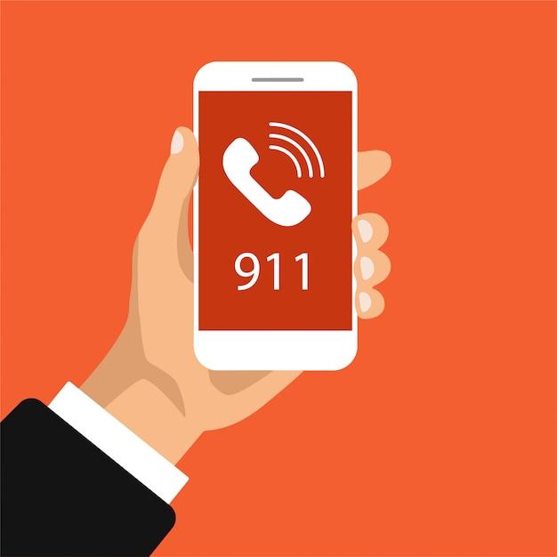 Botão de chamada de emergência 911. mão segura o smartphone com a chamada em uma tela. ilustração. Vetor Premium