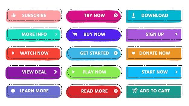 Botão de chamada para ação. leia mais, assine e compre agora botões web com cores vivas e texturas grunge conjunto isolado plana Vetor Premium