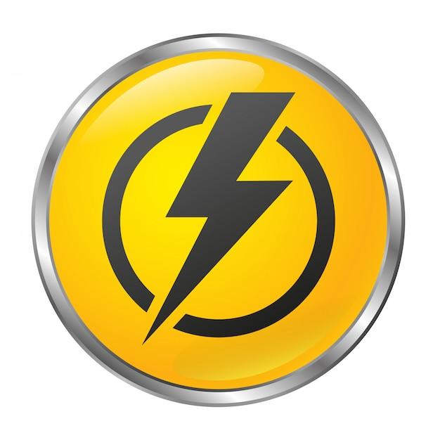 Botão de desligar grande amarelo sobre um fundo branco. objeto isolado. estilo 3d. Vetor Premium