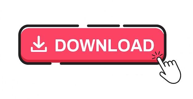 Botão de download no fundo branco. Vetor Premium