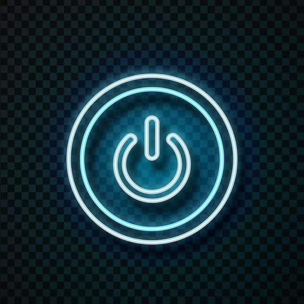 Botão de energia de néon realista para decoração de tecnologia e cobertura no fundo transparente. Vetor Premium