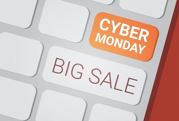 Botão de grande venda de cyber segunda-feira no teclado do computador, conceito de desconto de compras de tecnologia Vetor Premium