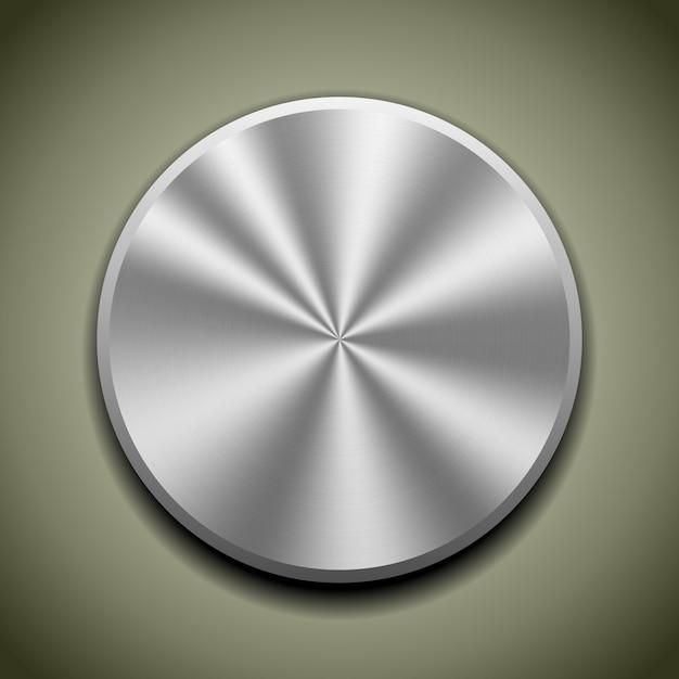 Botão de metal realista com processamento circular, reflexão de cone Vetor grátis