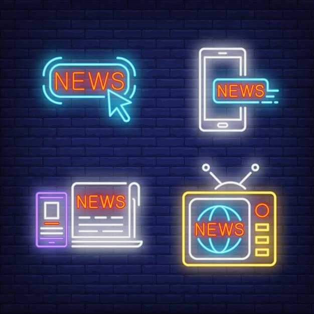 Botão de notícias, tv, jornal e smartphones sinais de néon Vetor grátis