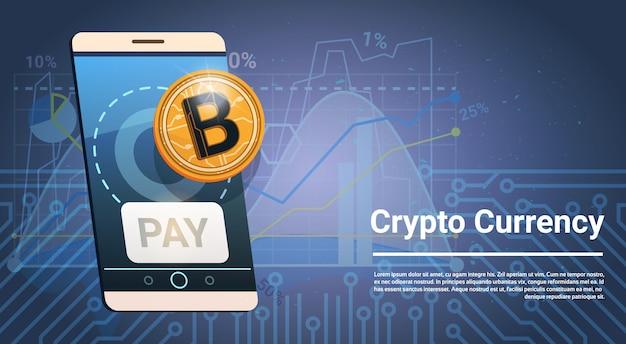 Botão de pagamento no ícone de bitcoin dourado telefone inteligente conceito de dinheiro no web de criptograma moeda digital grosso Vetor Premium