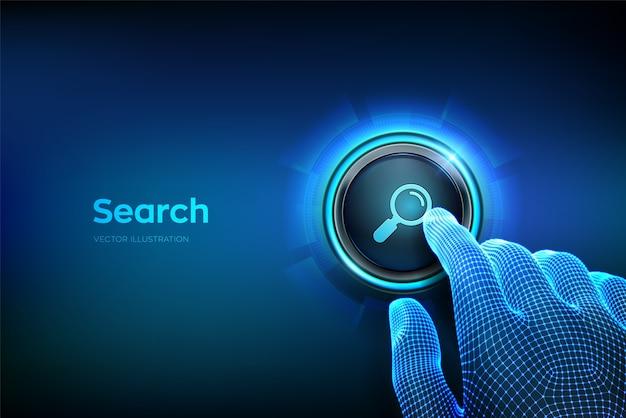 Botão de pesquisa. dedo do close up prestes a pressionar um botão com o ícone de pesquisa. pesquisando o conceito de rede de informações de dados de internet de navegação. basta apertar o botão. ilustração vetorial Vetor Premium