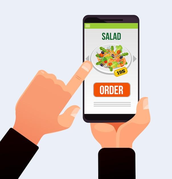 Botão de pressão de mão do cliente na tela sensível ao toque do smartphone e fazendo entrega de pedidos de comida. fornece tecnologia de aplicativo de site. Vetor Premium