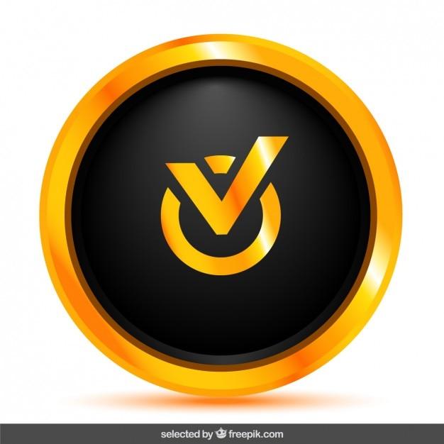 Botão de verificação preto Vetor grátis