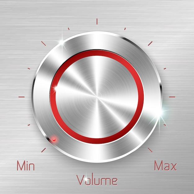 Botão de volume monocromático em fundo de folha metálica. Vetor Premium