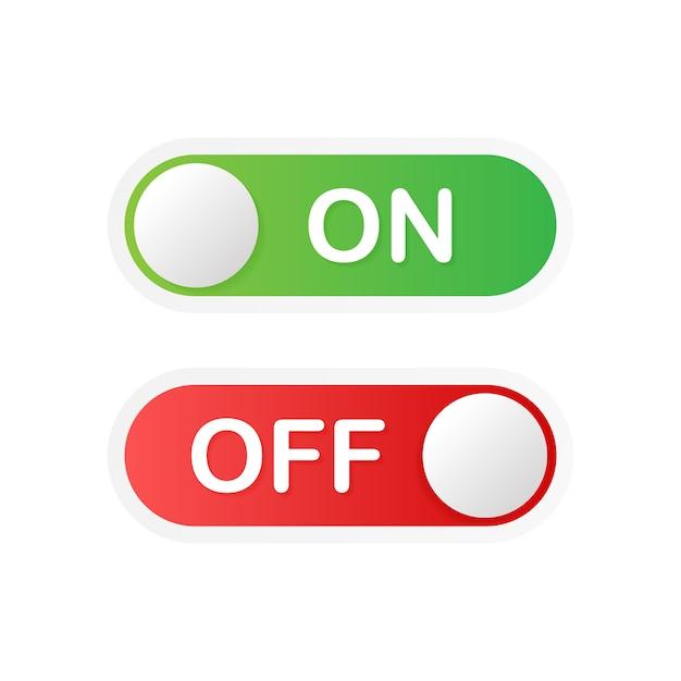 Botão do aplicativo ativar e desativar alternar formato vetorial de botão de alternância. Vetor Premium