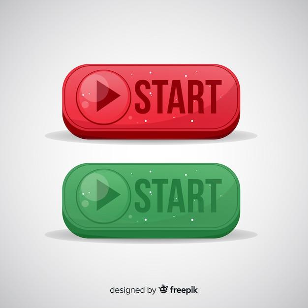 Botão iniciar vermelho e verde Vetor grátis