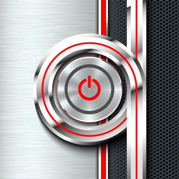 Botão liga / desliga na folha de material sólido monocromático. Vetor Premium