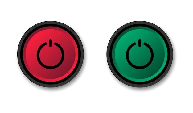 Botão liga e desliga. comece e pare. botões redondos vermelhos e verdes. Vetor Premium