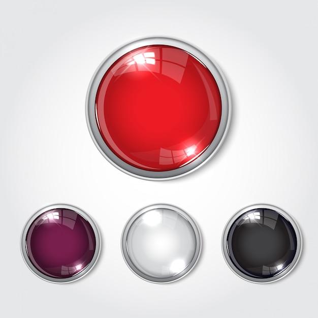 Botão web cor brilhante Vetor Premium