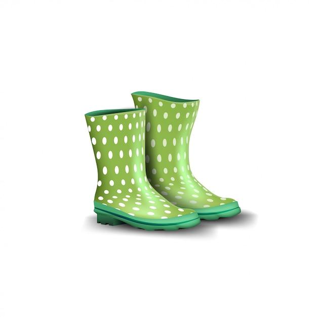 Botas de borracha verde isoladas Vetor Premium