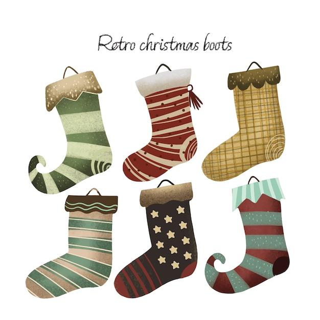 Botas de natal retrô Vetor Premium