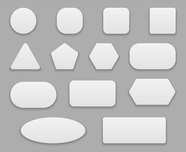Botões brancos. etiquetas em branco, distintivo claro branco. botão quadrado quadrado redondo de aplicação de plástico formas isoladas de 3d Vetor Premium
