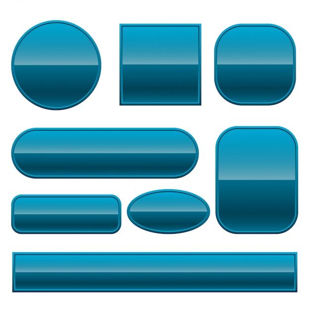 Botões brilhantes azuis, definidos em formas diferentes Vetor grátis