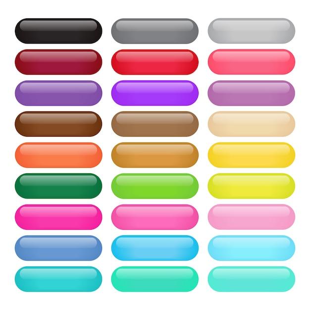 Botões brilhantes de retângulo redondo colorido Vetor Premium
