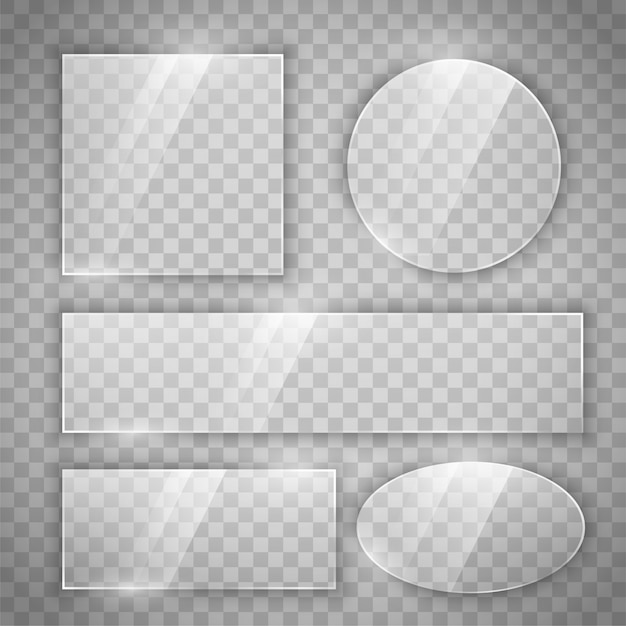 Botões brilhantes de vidro transparente em diferentes formas Vetor grátis