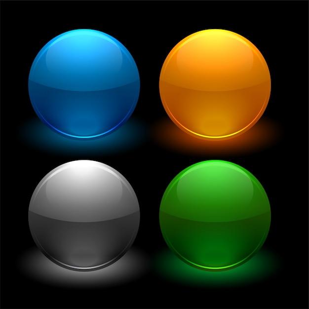 Botões brilhantes, definidos em quatro cores Vetor grátis