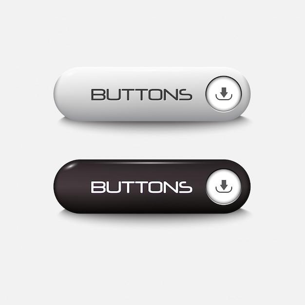 Botões brilhantes para web preto e branco Vetor Premium