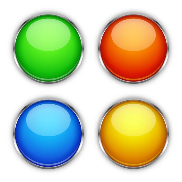 Botões brilhantes Vetor Premium