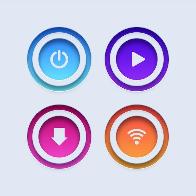 Botões coloridos. botões power, play, download e wifi Vetor Premium