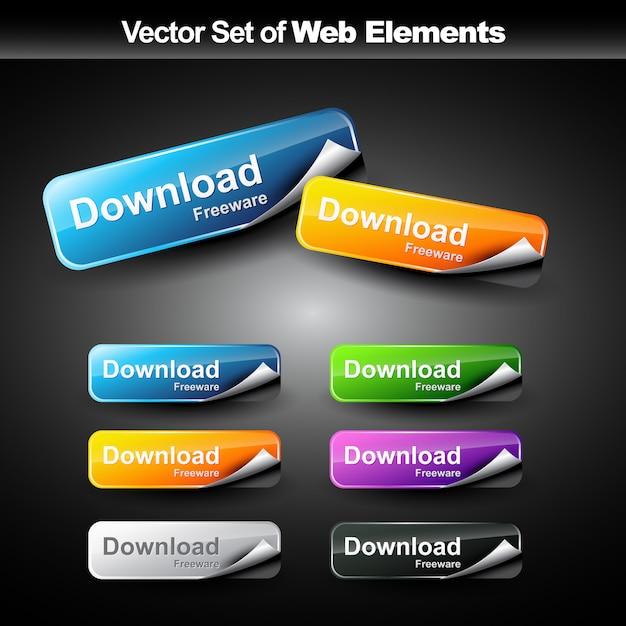 Botões coloridos da web Vetor Premium