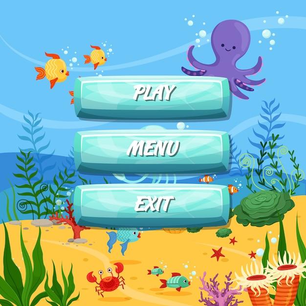 Botões com texto para jogos Vetor Premium