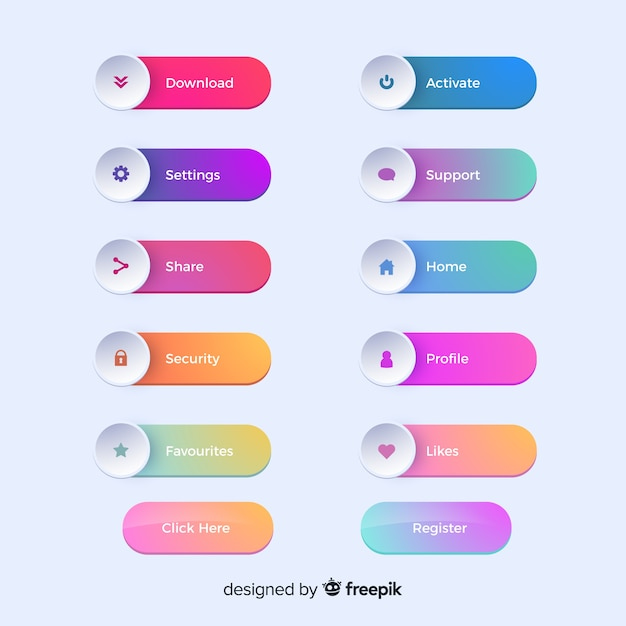 Botões da web em estilo gradiente Vetor grátis