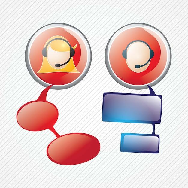 Botões de agente de serviço ao cliente em fundo cinza v Vetor Premium