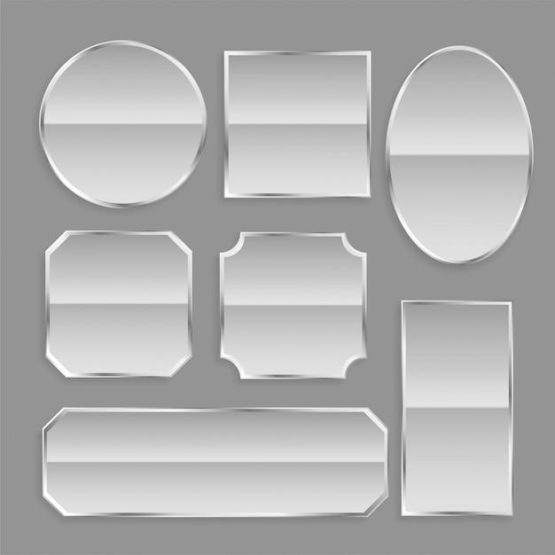 Botões de armação de metal branco brilhante com reflexão Vetor grátis