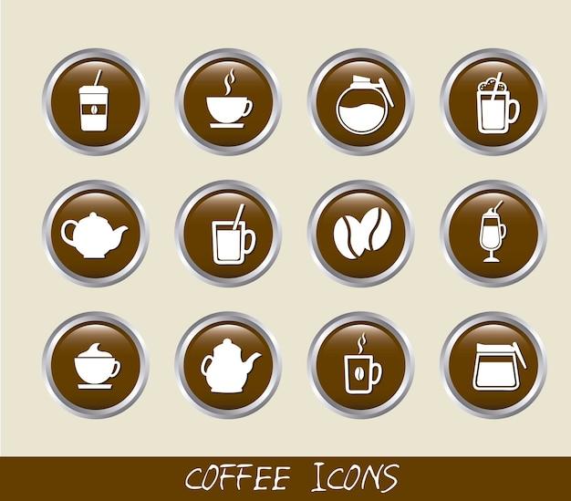 Botões de café marrom isolados sobre o vetor de fundo bege Vetor Premium