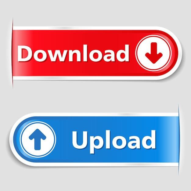 Botões de download e upload Vetor Premium